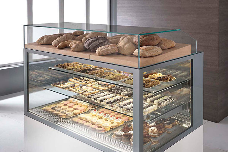 Ciam Usa Pastry Display Refrigerated Deli Cake Positive Showcase